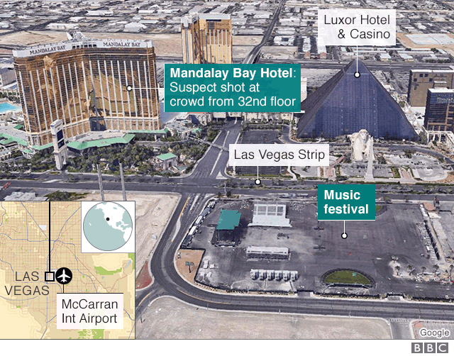 Map showing Mandalay Bay, Luxor Hotel and location of music festival being held opposite
