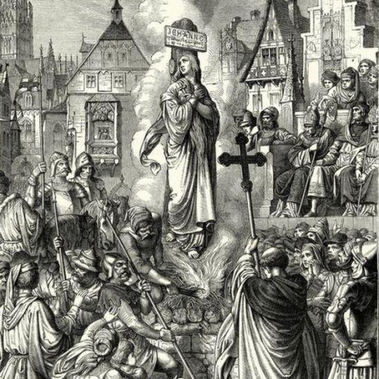 Ilustración de Juana de Arco en la hoguera