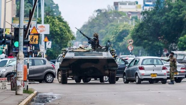 Army tank on streets of Harare