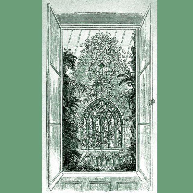 Grabado mostrando Tintern Abbey House