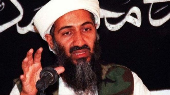 This undated file picture shows Saudi dissident Osama Bin Laden speaking at an undisclosed place inside Afghanistan.