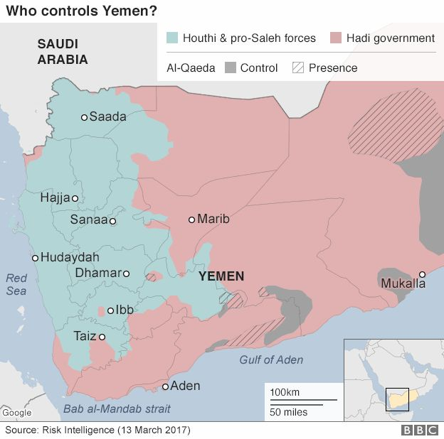 Map showing control of Yemen (13 March 2017)