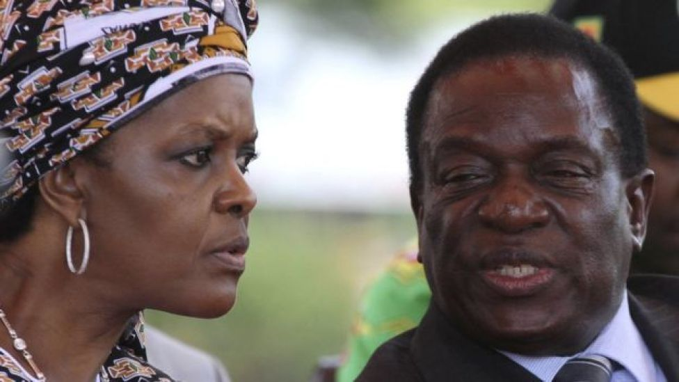 President Robert Mugabe's wife Grace Mugabe and vice-President Emmerson Mnangagwa attend a gathering of the Zanu-PF party's top decision making body, the Politburo, in the capital Harare, Zimbabwe, February 10, 2016