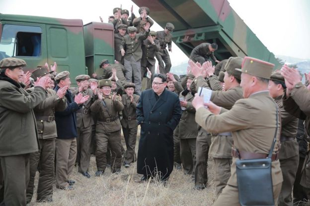 An undated photograph made available on 4 March 2016 by the North Korean news agency KCNA showing Kim Jong Un, supreme commander of the Korean People
