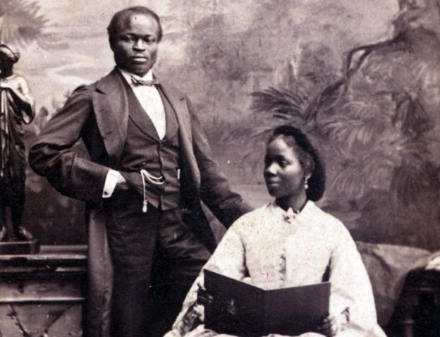 Sarah Forbes Bonetta with her husband James Davies