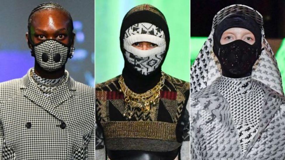 Models wearing facemasks at Marine Serre's Paris Fashion Week show