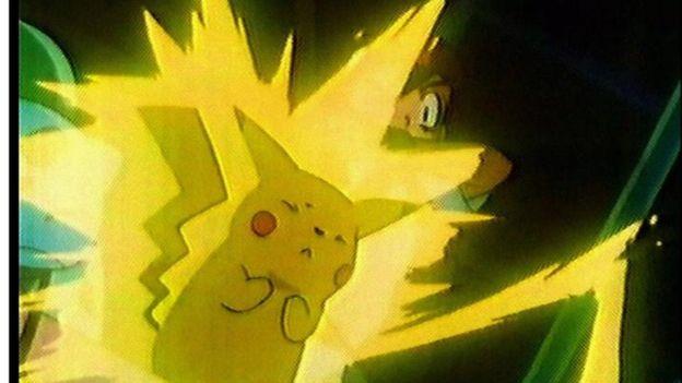 Pokemon character with yellow lighting around it