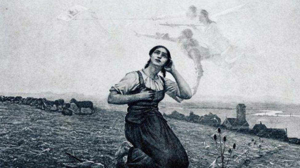Ilustración de Juana de Arco escuchando voces