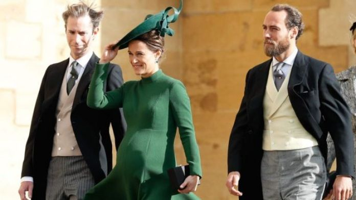 Pippa Middleton with her husband James Matthews (left) and brother James Middleton (right)