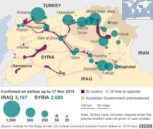 Map showing location of US-led coalition strikes in Syria - 6 November 2015
