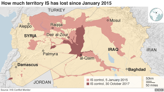 Map showing how much territory was held by IS in January 2015 and October 2017