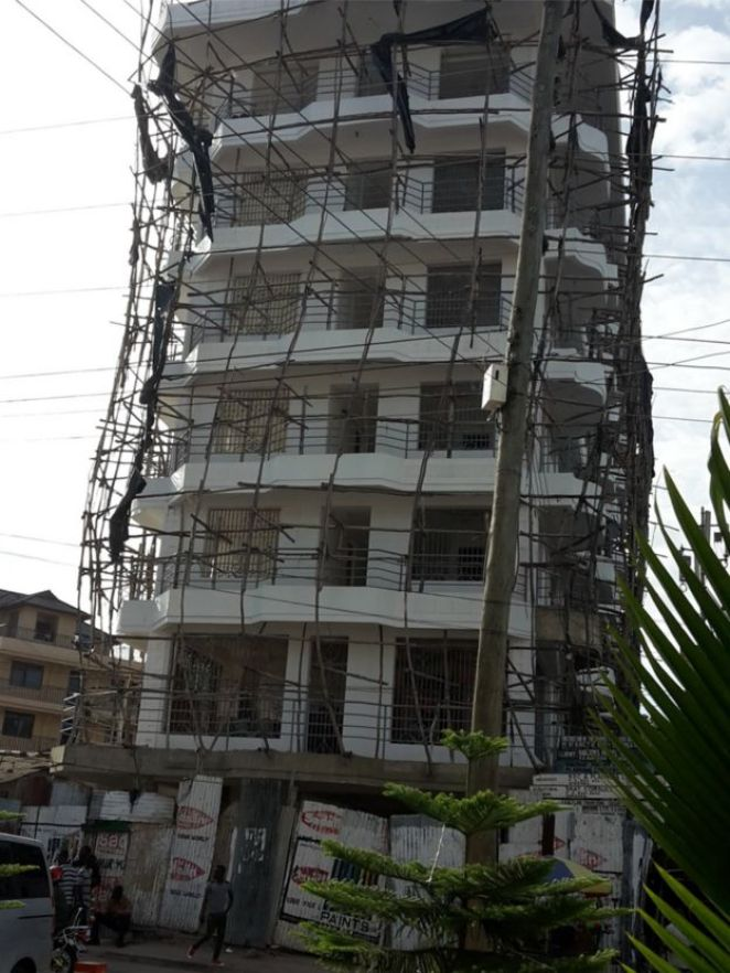 Wooden scaffolding on a seven story building in Mwanza, Tanzania, January 2016