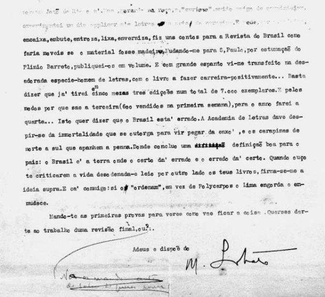 Carta de Monteiro Lobato a Lima Barreto
