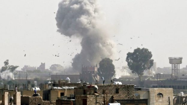 Saudi-led coalition air strikes in Yemen