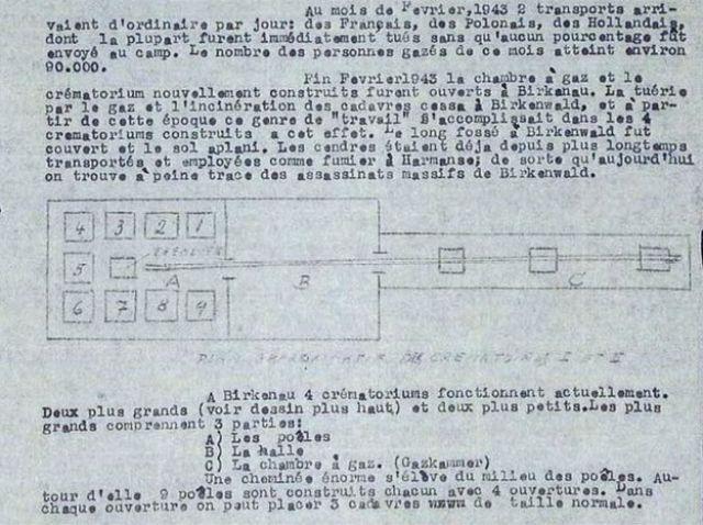 Parte del informe Vrba-Wetzler sobre las cámaras de gas nazis en Auschwitz, enviado por Sanz Briz a Madrid.
