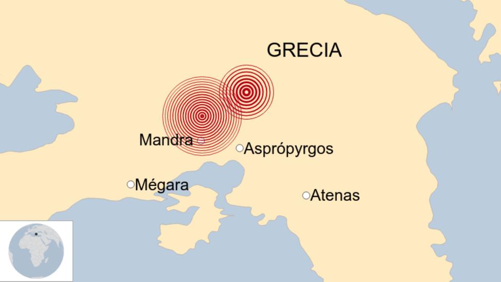 Mapa del sismo de Grecia