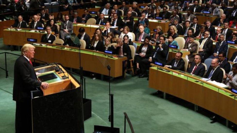 Tổng thống Donald Trump phát biểu tại phiên họp thứ 73 của Đại hội đồng Liên Hiệp Quốc ở New York hôm 25/9.
