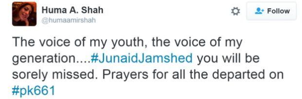 The voice of my youth, the voice of my generation....#JunaidJamshed you will be sorely missed. Prayers for all the departed on #pk661