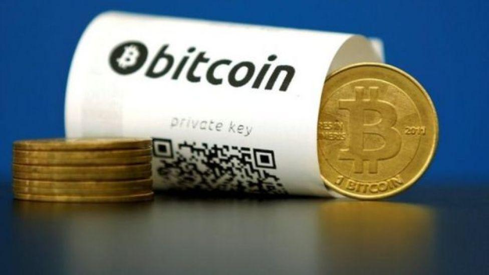 Foto de moneda bitcoin.