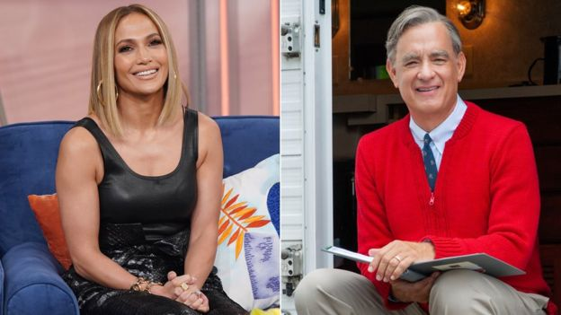 Jennifer Lopez and Tom Hanks as Fred Rogers in A Beautiful Day in the Neighborhood
