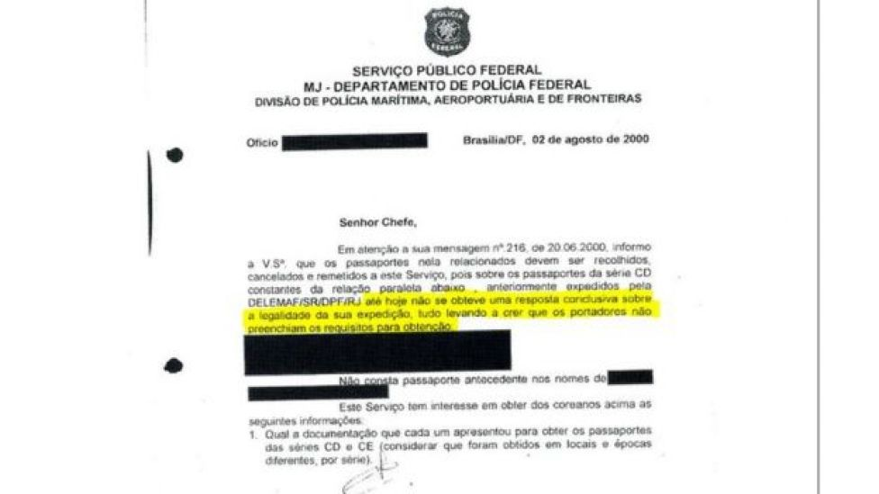 Ofício de agosto de 2000 da PF, encaminhado ao Ministério da Justiça