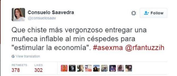 Tweet by Consuela Saavedra reading: