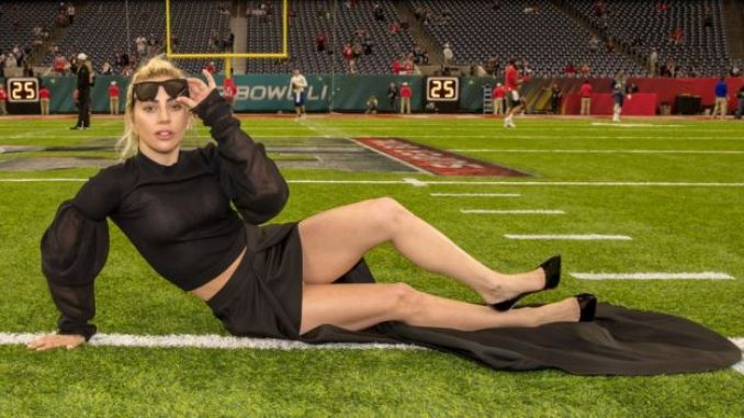 Lady Gaga on the pitch at the NRG Stadium in Houston