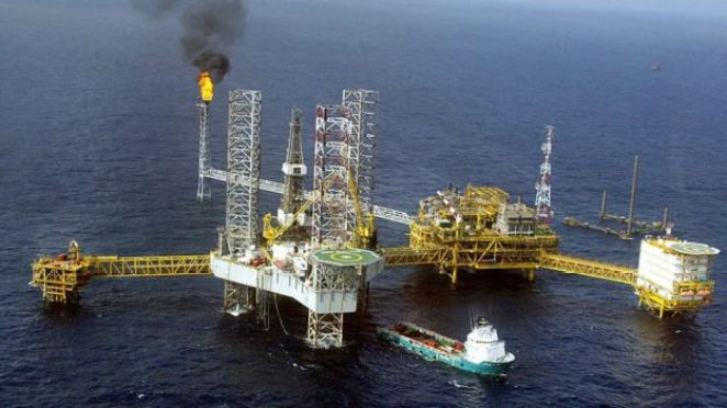 View of a Total Nigeria offshore oil and gas production platform at Amenam in the Niger delta 18 May 2005.