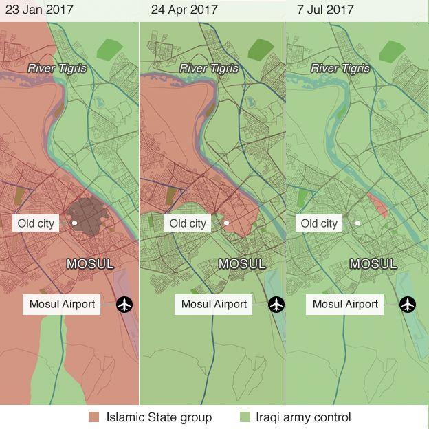 モスル奪還作戦の推移。オレンジ色がIS支配地域、緑が政府軍支配地域