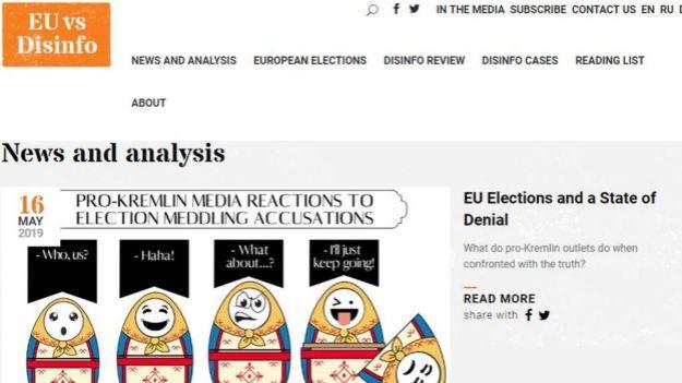 Página de la UE contra la desinformación.