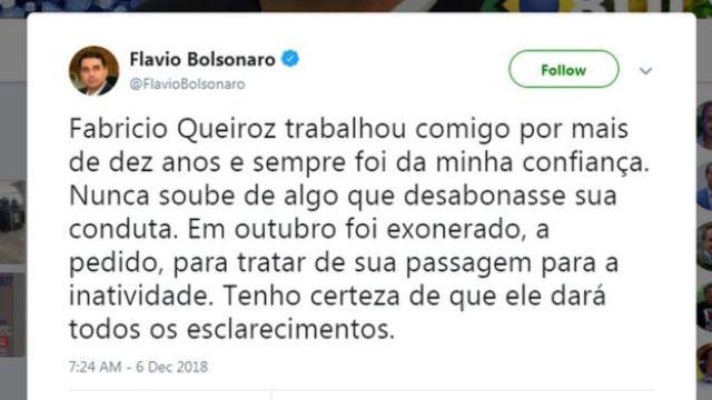 Tuíte de Flávio Bolsonaro