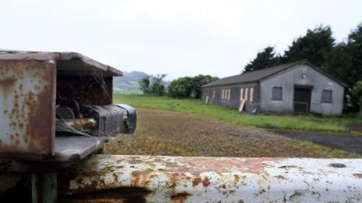 Rusting border post between Northern Ireland and the Republic of Ireland