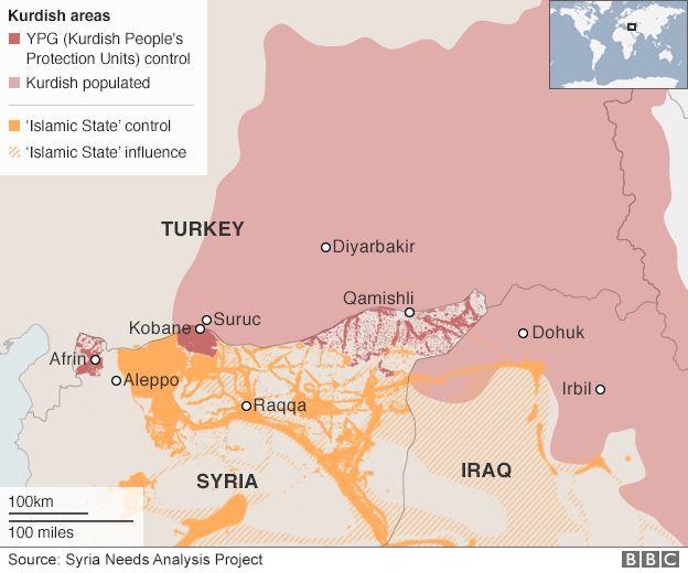 Map: Kurdish populated areas in Turkey, Syria and Iraq