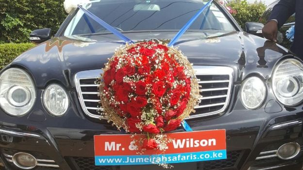 The wedding car for Wilson and Ann Mutura