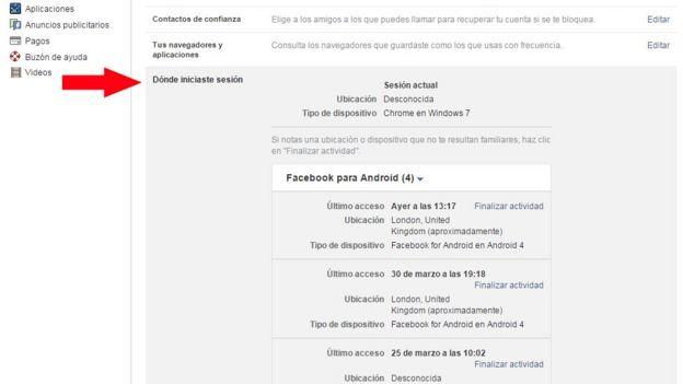 Pantalla de Facebook que muestra las opciones que permiten saber dónde accedieron a tu cuenta
