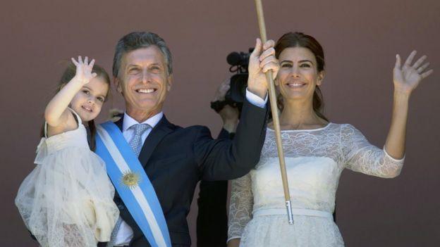 Mauricio Macri junto com sua família