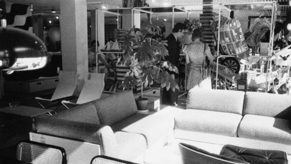 Shoppers in a Habitat store in 1973
