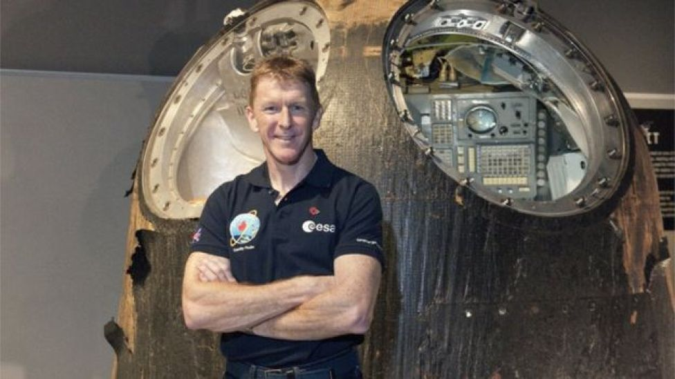 Tim Peake with the Soyuz TM14 capsule