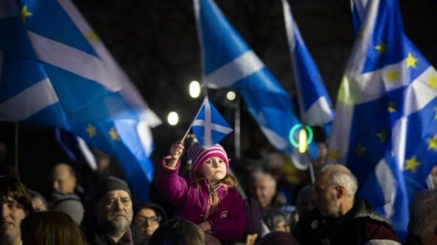 """Pro-EU campaigners take part in a """"Missing EU Already"""" rally outside the Scottish Parliament,"""