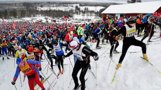 Estación de esquí Sälen durante una competición.