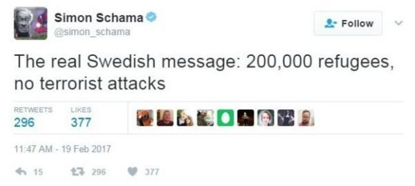 Simon Schama's tweet reads: