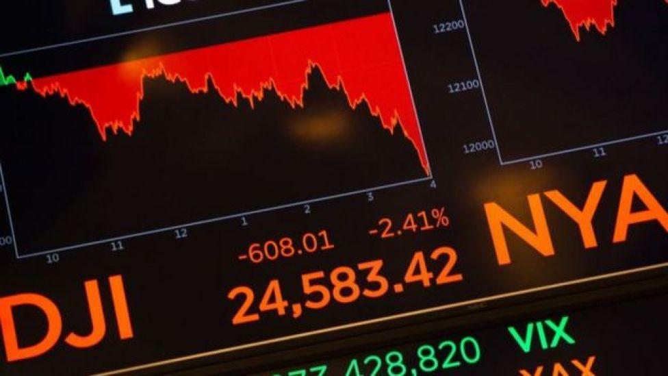 Pizarra en Wall Street.