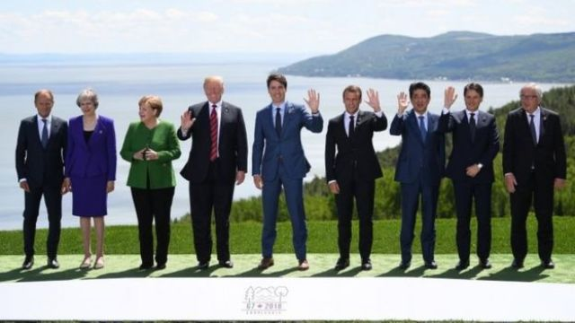 G7 meeting in Canada, starting 8 June, with (l-r), EU Council President Donald Tusk, UK PM Theresa May, German Chancellor Angela Merkel, Donald Trump, Canada's Justin Trudeau, French President Emmanuel Macron, Japanese PM Shinzo Abe, Italian PM Giuseppe Conte and European Commission President Jean-Claude Juncker