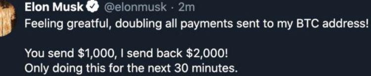 Un tuit desde la cuenta de Elon Musk