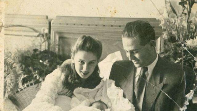 Edith e seu marido com seu primeiro filho
