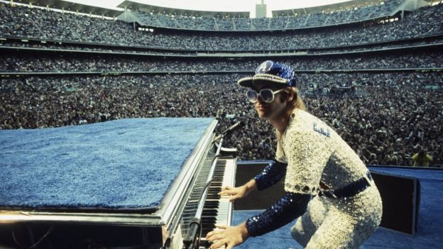 Elton John performing at the Dodger Stadium in Los Angeles in 1975
