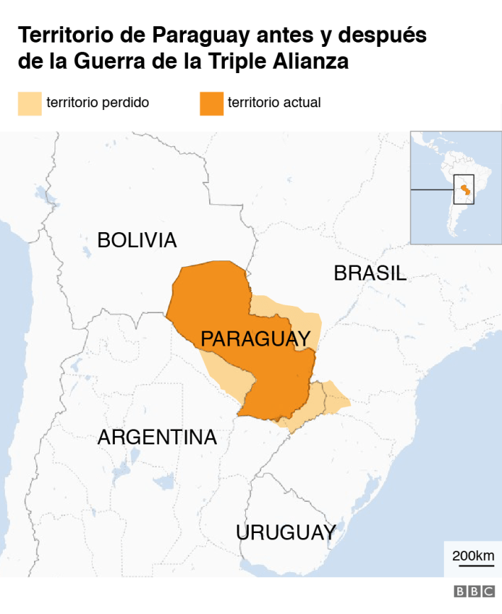 Territorio de Paraguay antes y después de la Guerra de la Triple Alianza