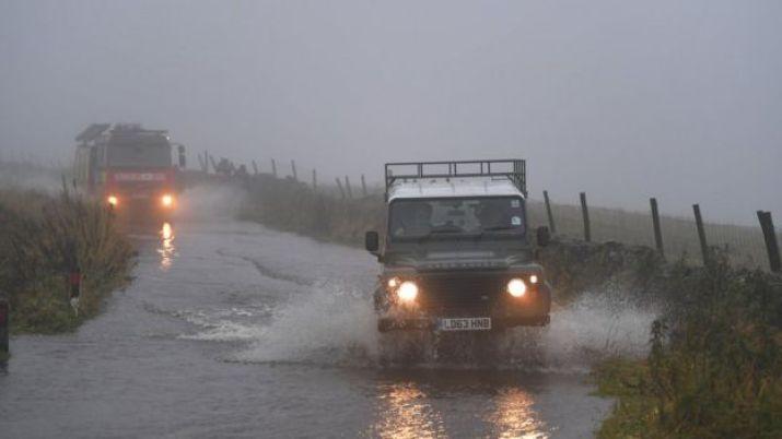 Vehicles in flood water