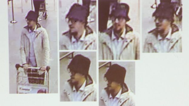 A photo presented by Belgian Federal prosecutors shows CCTV images of a suspect wanted in connection with the Brussels attacks of 22 March 2016