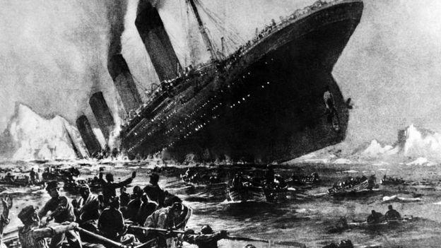 Ilustración que recrea el hundimiento del Titanic.